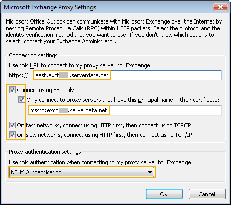 Exchnage Proxy settings