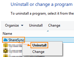Unlink ShareSync