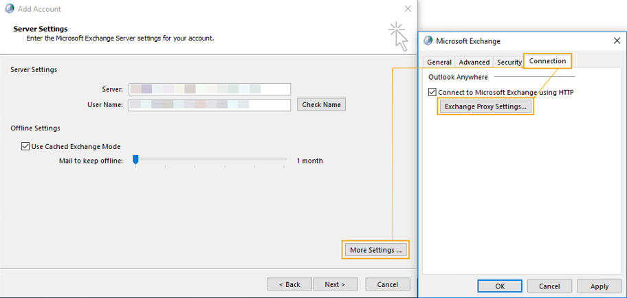 Outlook 2013 Proxy Settings