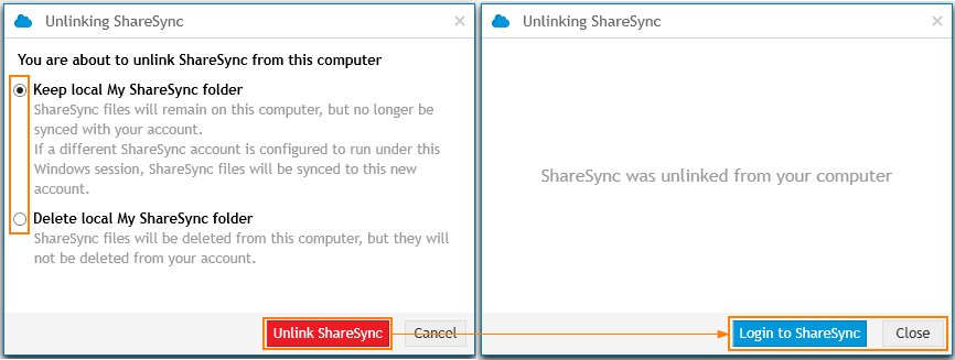 ShareSync: Unlink Account2