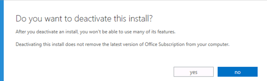Office 365 Deactivation