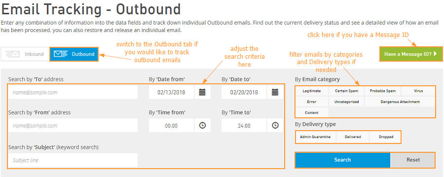 Outbound email tracking