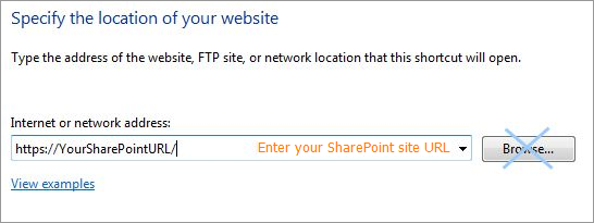 Enter your SharePoint site URL