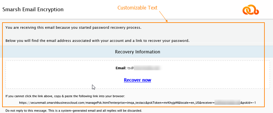 Password Recovery and Password Change Confirmation – PDF Recipient notification