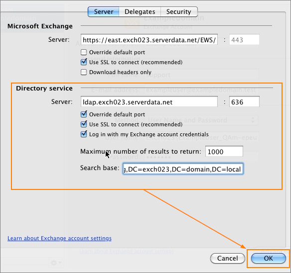 Outlook 2011 Exchange server settings