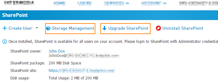 SharePoint storage via CONTROL PANEL