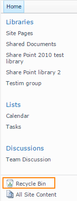 SharePoint recycle bin