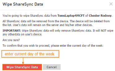 Wipe ShareSync data