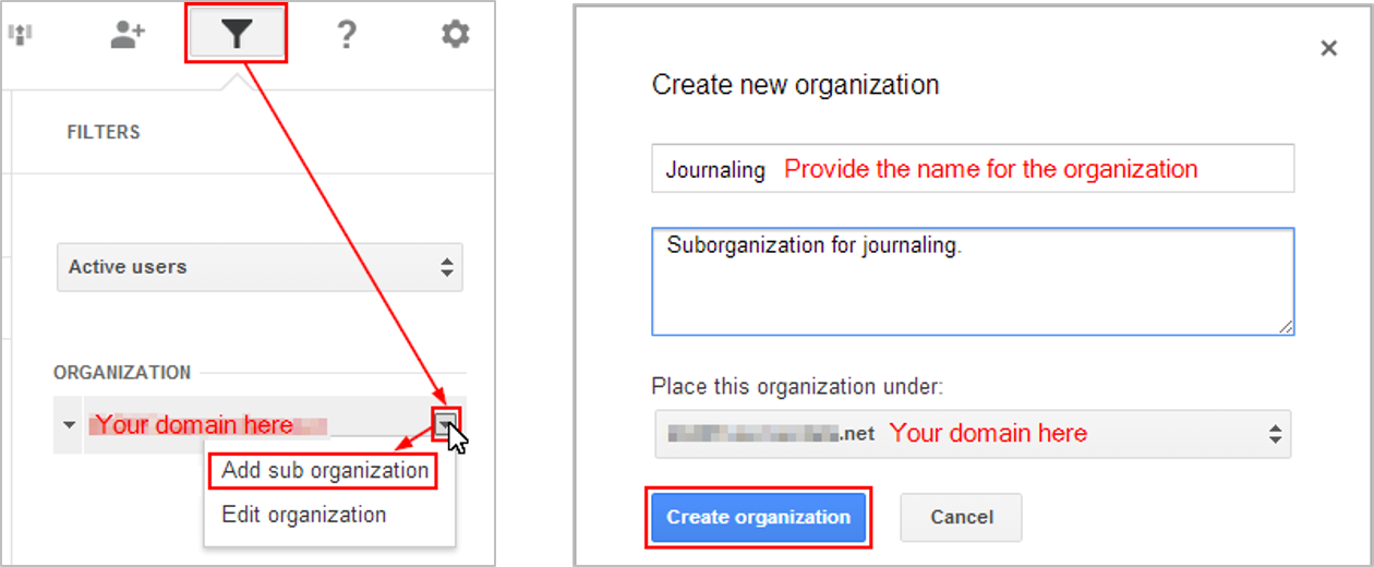 Adding an organizational unit in Google Apps