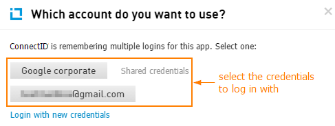 Select your login