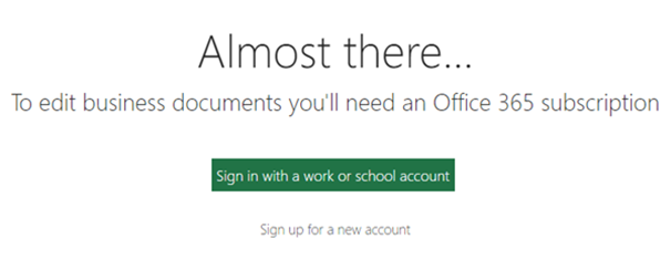 Sign in with a work or school account