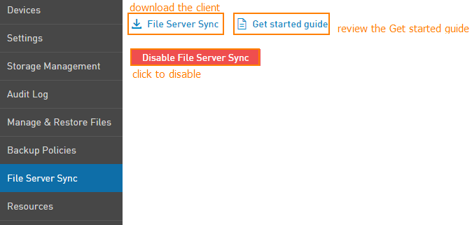 Download or disable File Server Sync